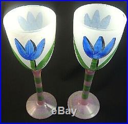 Kosta Boda Tulipa / Tulip 10 Water / Wine Signed by Artist Set of 2