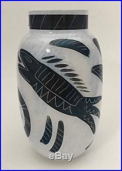 Kosta Boda Ulrica Hydman-Vallien Hand Painted Caramba Glass Vase Artist Signed