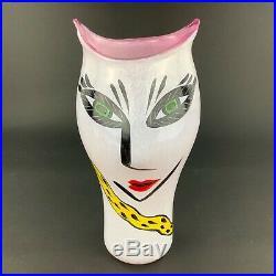 Kosta Boda Ulrica Hydman-Vallien Open Minds 13 1/2 Pink Yellow Face Vase