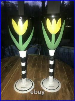 Kosta Boda Ulrica Hydman Vallien Tulip 10 Wine Glasses Goblets 99182 Pair