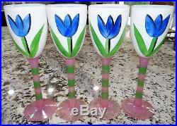 Kosta Boda Ulrica Hydman Vallien Tulip 10 Wine Glasses Goblets 99183 Set Of 4