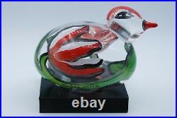 Kosta Boda Ulrica Hydman-vallien Handpainted Glass Bird On Foot. Signed