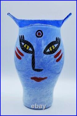 Kosta Boda Ulrica Hydman-vallien Large Vase Open Minds In Blue. 26 CM