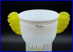 Kosta Boda Ulrica Hydman-vallien Large Vase Tiger In Yellow And White. Rare
