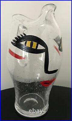 Kosta Boda Ulrica Painted Face Pitcher Vase Decanter Vintage Signed Rare 11