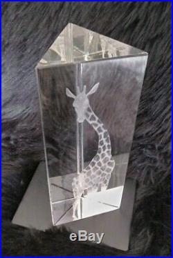 Kosta Boda VICKE LINDSTRAND Signed PRISMATIC Clear Art Glass GIRAFFE Sculpture