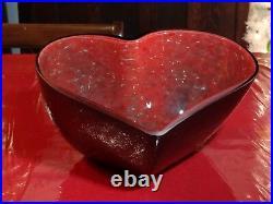 Kosta Boda Valentine Heart Glass Bowl Christmas 2009 Artist Signed Rare 10-3/4