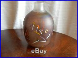 Kosta Boda Vallien Confetti Vase Signed and Numbered Brown Opalescent Excellent