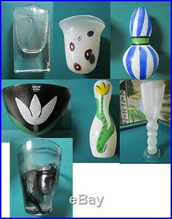 Kosta Boda Vase Art Glass Ulrica Warff Vallien Edenfalk Tumble Bowl Pick 1