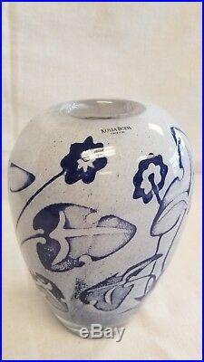 Kosta Boda Vase Signed OLLE BROZEN blown glass Sweden Scandinavian Blue Flowers