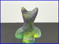 Kosta Boda Well Collection Glass Art Cat Sculpture Figurine, Signed Kjell Engman