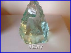 Kosta Crystal Large Paperweight with Engraved Sail Boat by V. Lindstrand Signed