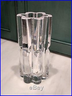 Kosta Goran Warff Ribbed Cut Glass Mid Century Vase