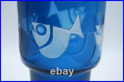 Kosta Owe Sandberg. Lampfoot/vase In Blue And Frosted Fish. Signed. Very Rare