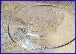 Kosta Sweden Footed Etched Feathers Glass Pedestal Bowl Vase Vicke Lindstrand