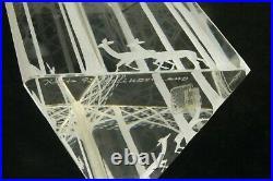 Kosta Sweden Lindstrand Etched Art Glass Triangular Prism Deer w Trees Sculpture