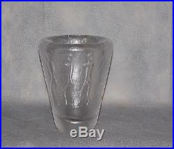 Kosta Sweden Mid Century Vicke Lindsrand Cave Drawing Glass Vase Circa 1955