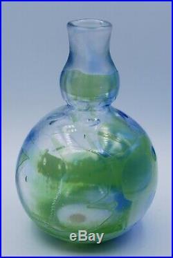 Kosta Unik. Ann Warff. Unique Vase In Green And Blue. Signed