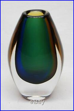 Kosta Vicke Lindstrand. 3 Coloured Vase In Amber, Blue And Green