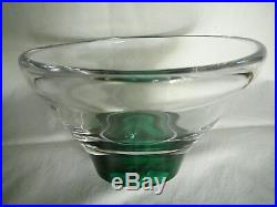 Kosta Vicke Lindstrand Conical Vintage Bowl with Emerald Green Base