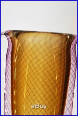 Kosta Vicke Lindstrand. Dubble Cased Vase In Amber With Purple Threats