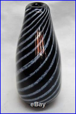 Kosta Vicke Lindstrand. Early Vase In Black And Withe. Acid Signed