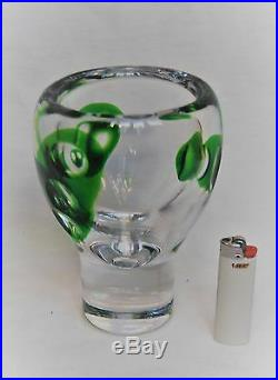 Kosta Vicke Lindstrand. Large And Heavy Serica Vase In Green And Clear Glass
