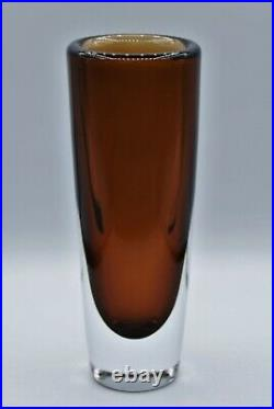 Kosta Vicke Lindstrand. Large Thickwalled Vase In Brown. Signed