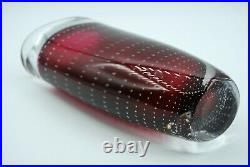Kosta Vicke Lindstrand. Overlay Vase In Red With Controled Airbubbles. Signed