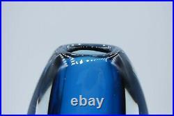 Kosta Vicke Lindstrand. Thickwalled Sommerso Vase In Blue. Signed. 21 CM