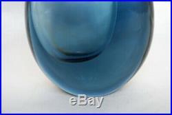 Kosta Vicke Lindstrand. Thickwalled Vase In Gray/blue. Signed