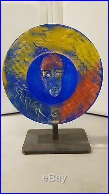 Kosta boda kjell engman round face in glass sculpture