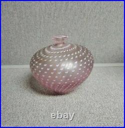 Kosta boda pink vase signed b. Vallien artist collection #48466