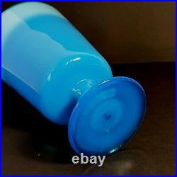 LARGE Erik Hoglund For Boda Signed Blue Opaline Opaque Footed Vase Sweden