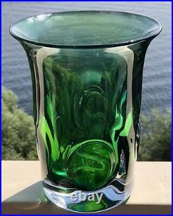 LARGE Signed GORAN WARFF KOSTA BODA Vase Mid-Century Solid Green Blue Glass H 8