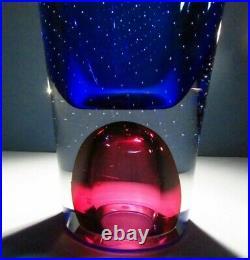 LG Kosta Boda Goran Warff ARTIST'S CHOICE Blue Vase Signed Glass Crystal Zoom
