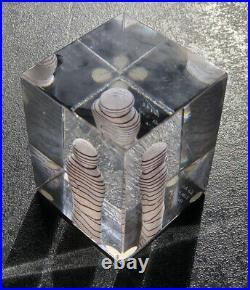 LIMITED Signed BERTIL VALLIEN KOSTA BODA Atelie Glass Art Clear Cube Sculpture
