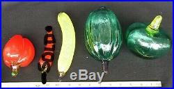 LOT of 4 Kosta Boda Gunnel Sahlin Frutteria Series Glass Fruit Vegtable Swedish