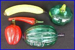 LOT of 5 Kosta Boda Gunnel Sahlin Frutteria Series Glass Fruit Vegtable Swedish