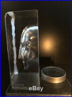 LTD ED KOSTA BODA Sweden BERTIL VALLIEN Clear Glass Face Candle Holder Signed
