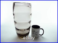 Large 1940's Kosta Boda glass vase by Elis Bergh Very heavy smokey grey topaz