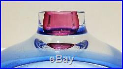 Large KOSTA BODA, G WARFF Signed 7059912 Bowl, 11, Cobalt Blue & Pink