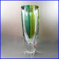 Large Kosta Boda Mirage Vase Goran Warff Cased Blue Yellow Byron Nelson 11