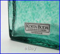 Large Kosta Boda Sweden Antikva Art Glass Vase Bertil Vallien Artist Coll Signed