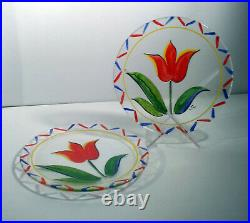 Large Lot TULIP Pattern Art Glass Dinnerware Outdoors Kosta Boda Handpainted I. G