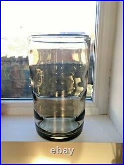 Large Scandinavian Kosta Boda Smoke Grey Optic Ribbed Glass Vase By Elis Bergh