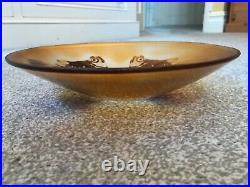 Large Signed Paul Hoff Kosta Boda Vintage Goldfish Cameo Art Glass Bowl