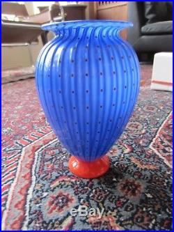 Large Transjo Hytta Sweden 9 Art Glass Vase Vintage Kosta Boda Masters Blue