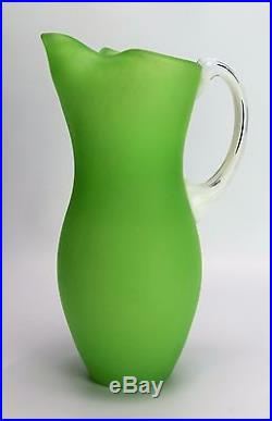 Lime Green Kosta Boda Pitcher Frosted Glass Jug Gunnel Sahlin