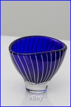 Lindstrand Kosta Dark blue with white stripes vintage bowl